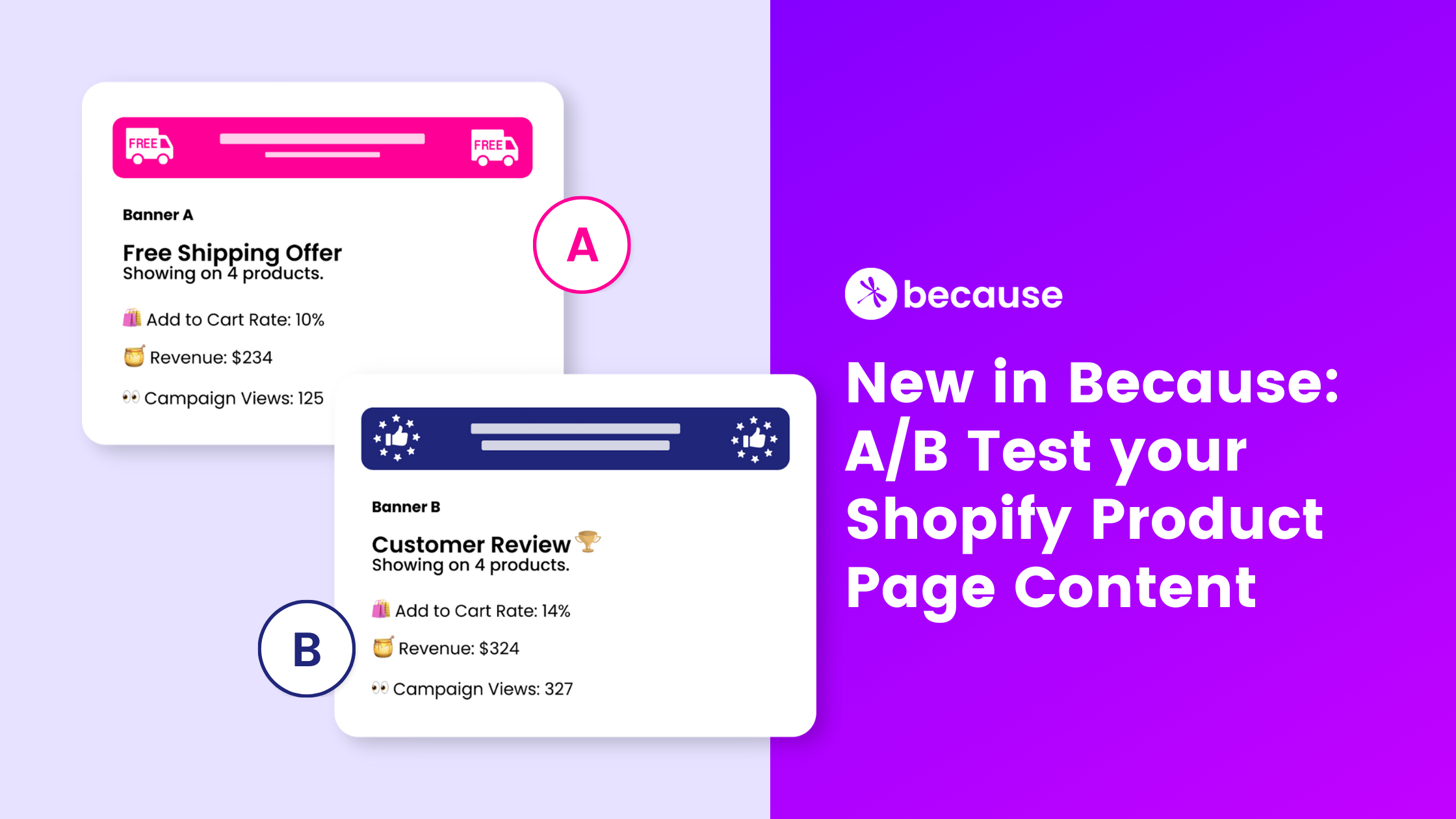 New in Because: A/B Test your Shopify Product Page Content