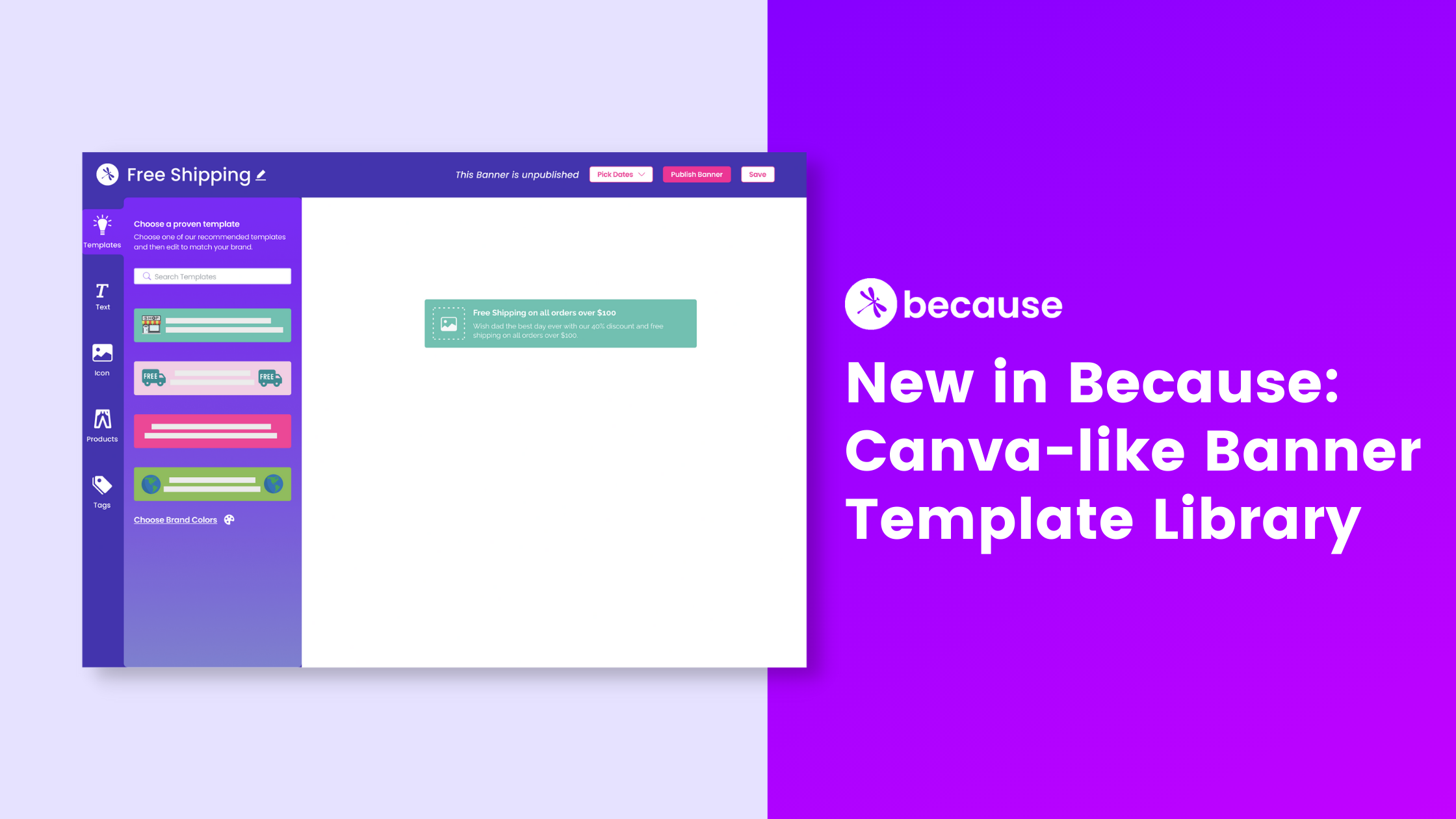 New in Because: Canva-like Banner Template Library